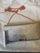 Bnwt Ted Baker Janet Stab Stitch Silver Leather Purse / Small Evening Bag &chain