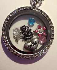 MOTHERS DAY MUM S/STEEL FLOATING LOCKET RHINESTONE CHAIN & CHARMS 30 MM