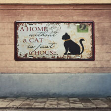 HOME CAT Retro Metal Tin Sheet Metal Sign Picture Wall Decor Plaque Plate