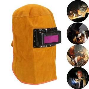 New Leather Hood Welding Helmet Mask Solar Auto Darkening Filter Lens Welder UK