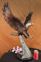 "30""H Large Real Bronze Statue AMERICAN BALD EAGLE Hawk Sculpture Garden Yard Art"
