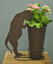Silhouette Cat Standing Garden Plant Pot Holder with Pot by Rustic