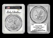 2021 Silver Eagle Type 2 PCGS MS70 First Strike Emily Damstra Signed - PRE-SALE!