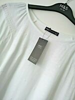LADIES M&S SIZE 14 WHITE SOFT PURE COTTON STRETCH TOP FREE POST