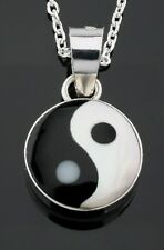 Solid 925 Sterling Silver Mother Of Pearl Shell Yin & Yang Pendant Necklace Gift