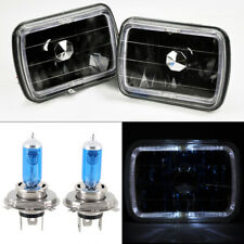 "7x6"" H4 Black Glass Halo Angel Eye Headlights Conversion w/ Bulbs RH LH Dodge"