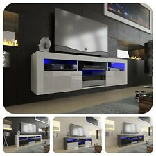 TV Schrank Lowboard Hängeboard Fernsehtisch 160cm - Hochglanz Türen - LED - A12