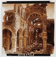 Guerre 14-18 Cattedrale Albert Distrutta Francia Foto Stereo Placca Vintage