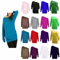 WOMENS BATWING PLUS SIZE BAGGY TOP JUMPER JERSEY LADIES LONG SLEEVE PLAIN UK8-26