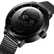 Reloj de pulsera para Hombres Relojes de Cara Grande Negro Correa De Malla Para Hombre de Lujo Simple Diseñador