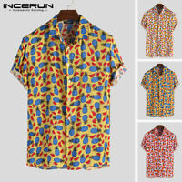 Men Floral T Shirts Hawaiian Printed Button Up Party Shirts Summer Beach Holiday