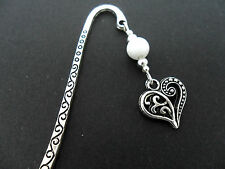 A TIBETAN SILVER  WHITE JADE BEAD  & HEART CHARM BOOKMARK. NEW.