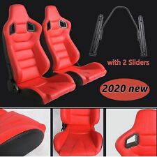 Set of 2 Car Racing Seats Reclinable Red Leather Bucket Pair Seats W/ 2 Sliders