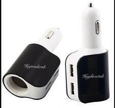 3 in 1 Way Car Cigarette Lighter Socket Splitter 2 USB Power Charger Adapter UK