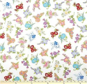 """Loralie Designs Fabric """"Mixed Bouquets """" Floral Print by the 3/4 Yard Piece"""