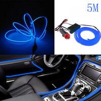 Universal Car 5M Interior LED Decor Wire Strip Atmosphere Neon Cold Light Blue