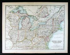1906 Johnston Royal Atlas Map - NE United States New York Virginia Massachusetts