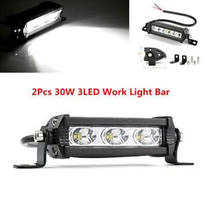 2Pcs 30W Car Spot Beam 3LED Work Light Bar Offroad Driving Fog Lamp Waterproof