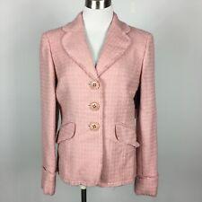 New Juliana Collezione Size 6 Blazer Pink Tweed 3 Button Flap Pockets Wool Blend