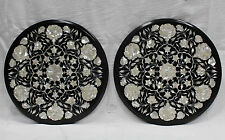 "Set of 2 18"" Inches Marble Side End Table Top  Pietra dura Handmade Work"