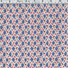 Pink ROSES Blue Diamond Trellis Fabric ~ FQ
