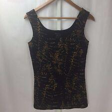 NWT Eva Varro Sleeveless Stretch Blouse Black and Tan Ruffled Texture SZ S