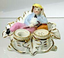 "Antique Rare German ""Boy Resting"" Figural Porcelain Miniature Dollhouse Inkwell"