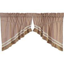VHC Farmhouse Prairie Swag Pair Kendra Stripe Kitchen Curtains Rod Pocket