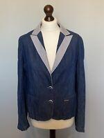 Ted Baker Size 12 3 Denim Blazer Linen Cotton Jacket