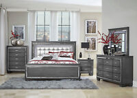 Modern Glossy Dark Gray 5pcs Bedroom Set w/ Queen LED Lighted Headboard Bed IA43