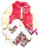BETSEY JOHNSON GirlsOutfit JACKET SHIRT LEGGINGS Pink Leopard Rose Cream NEW NWT