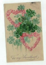 """Antique embossed Post Card """"To My Sweetheart"""" Roses and Shamrocks"""