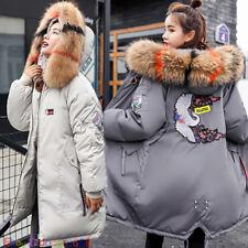 UK Winter Women Coat Hooded Fur Collar Cotton Coat Quilted Jacket Puffer XS-2XL