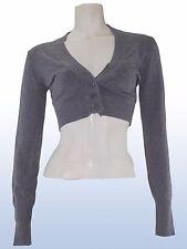 Maglia maglioncino cardigan corto grigio lana cashmere tg s / m manica lunga