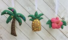 Christmas Ornament Felt Embroidery Kit Tropical, Sequins + Gold   Makes 3  DIY