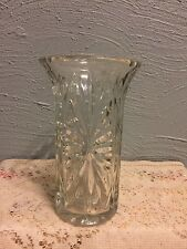 1991 FTD Heavy Clear Pressed Glass Elegant Vase - Heavy Thick Glass or Crystal.