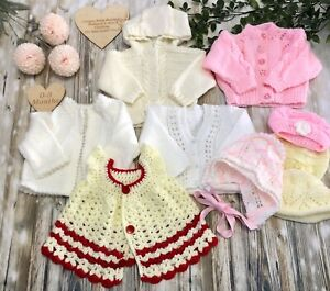 🌸0-3 Months Baby Girls Handmade Knitted Knit Cardigans & Hats Bundle