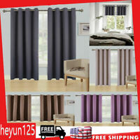 """2 Panels Blackout Window Curtains Thermal Insulated Drapes Grommet 45"""" 63"""" 84"""""""