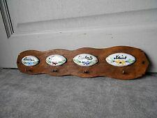 Vintage French wood kitchen Rack holder w/ labels