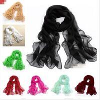 Hot Women's Pure color Wrap lady Shawl Stole Silk Chiffon Scarf 20 Color W007ZU