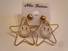 Ohrringe lachender weißer Smiley aus Email großem Goldfarbe Edelstahl Stern 4258