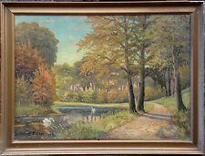 SCHWÄNNE IM WALDSEE. Ölgemälde. Swand in lake, oil painting