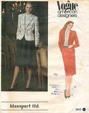 1980s VTG VOGUE A.D.O. Misses' Jacket&Skirt Bill Blass Pattern 2643 S 12
