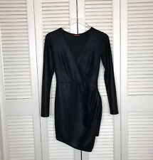 Motel Rocks Women's Small Black Willow Wrap Dress Crackle Fabric V Neck EUC