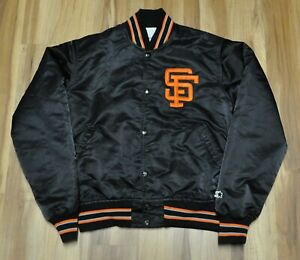 SAN FRANCISCO GIANTS SF VINTAGE STARTER JACKET BLACK SATIN MLB MEN MEDIUM