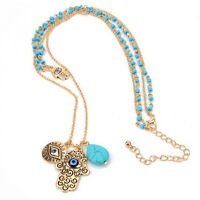 Women Gold Lucky Protection Necklace Pendant Chain Hamsa Fatima Hand Evil Eye