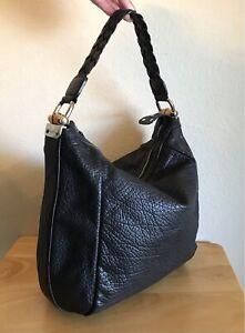 Gucci Black Leather Bamboo Bar Handbag Medium  Pebbled Braided Shoulder Tote Bag