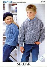 Sirdar Denim Tweed DK Crochet Pattern #4068 Children's Sweaters 1 - 10 years