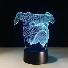 Bulldog 3D Optical Illusion LED Light - 7 Color Change Touch Button