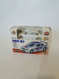 BMW M3 GT CUP, BBurago DIE-CAST model 1/43 EASY TO ASSEMBLE white